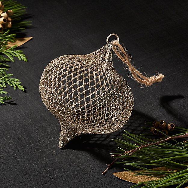 Gold Net Onion Ornament