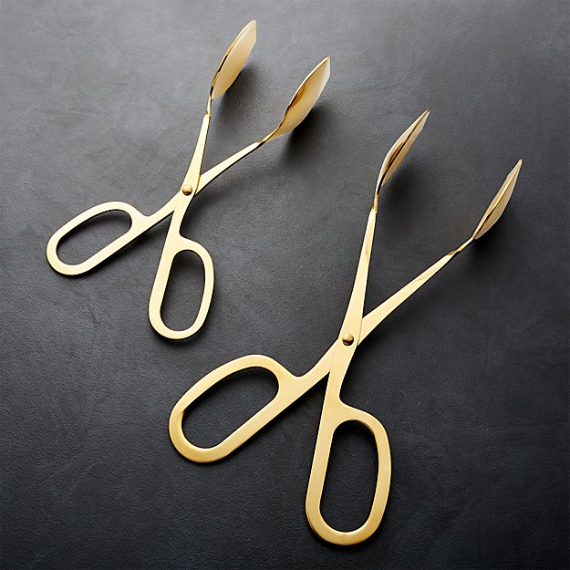 Gold Scissor-Handled Serving Tongs