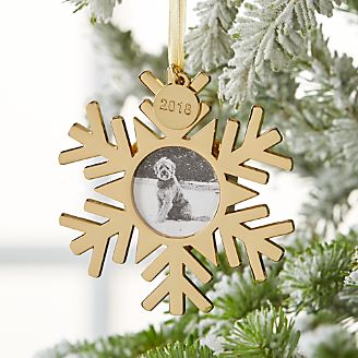 gold snowflake photo frame ornament with 2018 charm