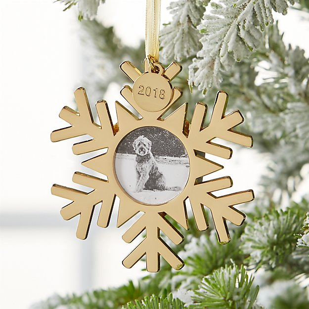 Gold Snowflake Photo Frame Ornament with 2018 Charm + Reviews ...