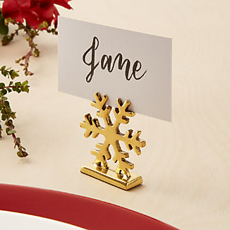 Gold Snowflake Place Card Holder