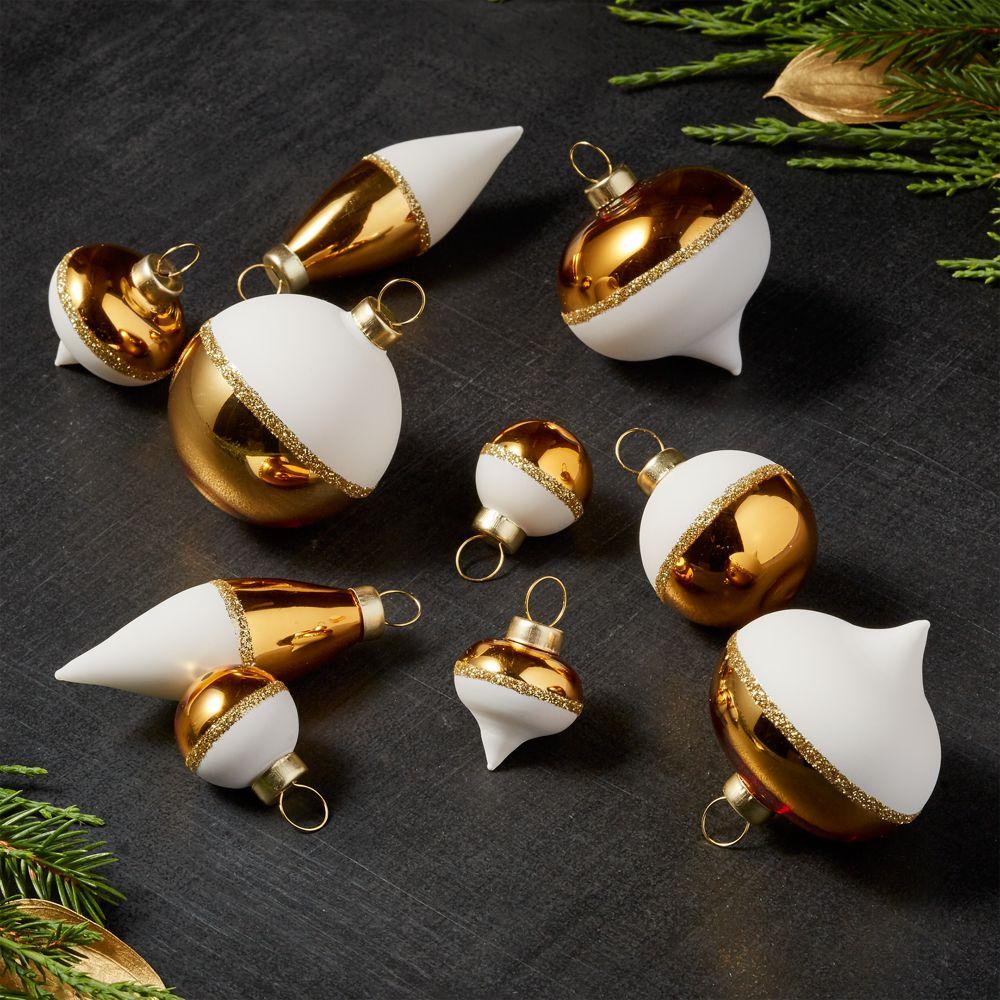 Gold/White Mini Ornaments, Set of 10