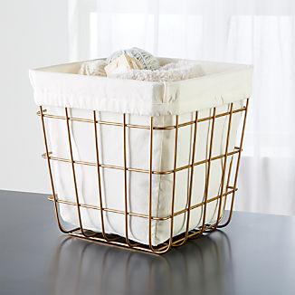 Gold Wire Cube Bin