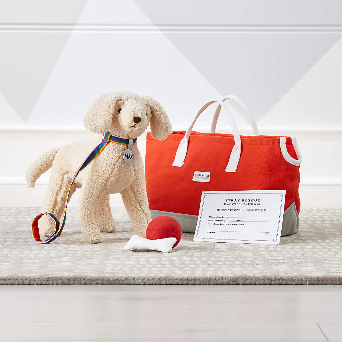 Set Of Dog Stuffed Animals, Goldendoodle Stuffed Animal Adoption Set Reviews Crate And Barrel