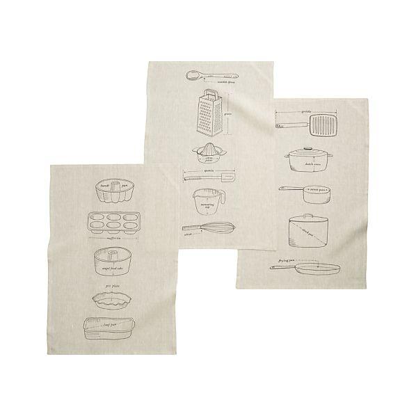 Set of 3 Gourmet Blueprints Dish Towels