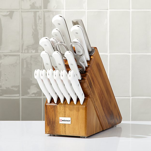 Wusthof ® Gourmet White 18-Piece Knife Set with Acacia Block - Image 1 of 4