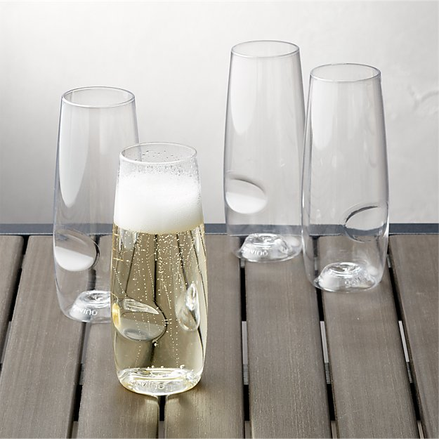 Govino shatterproof plastic stemless champagne glasses for Thin stem wine glasses