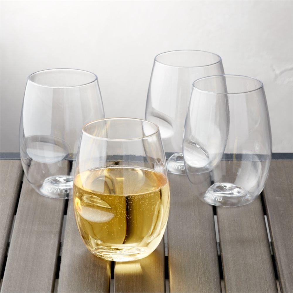 Govino ® Shatterproof Plastic Stemless Wine Glasses, Set of 4 - Crate and Barrel