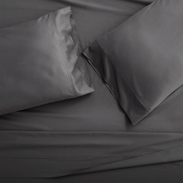 Grace Charcoal King Pillow Cases, Set of 2