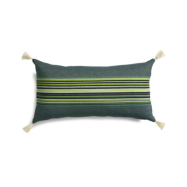 "Grady Green 24""x12"" Pillow with Feather-Down Insert"