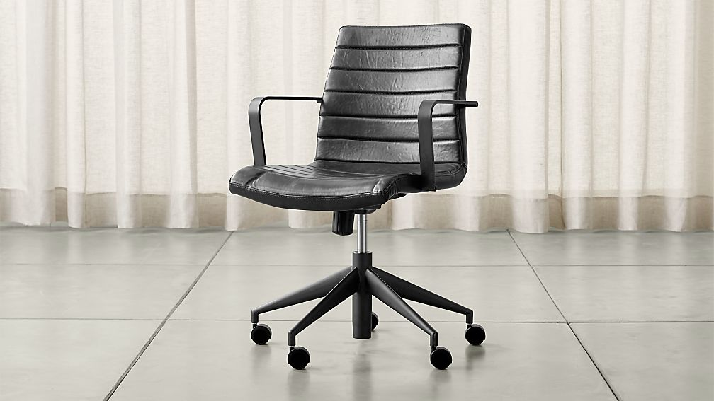 Graham Black Office Chair + Reviews | Crate and Barrel on office table and chairs, office desk chairs, office chairs for bad backs, office accessories, office chairs product, office conference,
