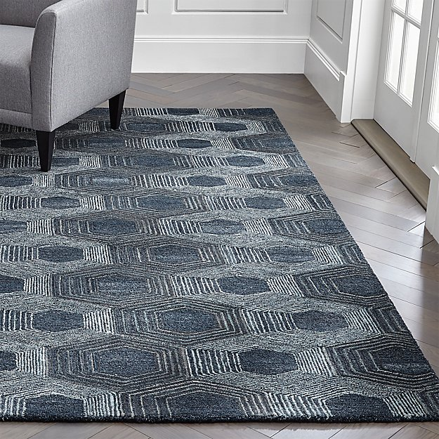 Gramercy Blue Hexagon Pattern Rug Crate And Barrel