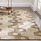 Gramercy Gold Hexagon Pattern Rug