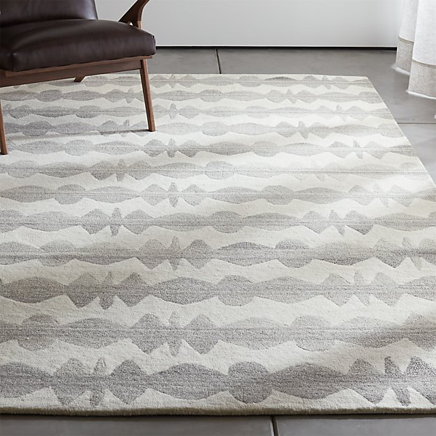 Crate And Barrel Exclusive Graphite Neutral Striped Wool Rug