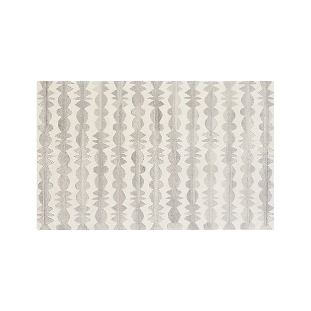 Graphite Neutral Striped Wool 5'x8' Rug