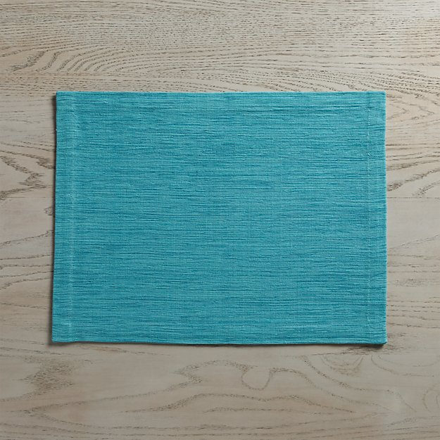 Grasscloth Aqua Cotton Placemat - Image 1 of 8