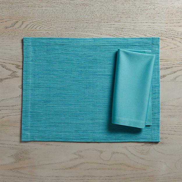 Grasscloth Aqua Placemat and Fete Aqua Cloth Napkin