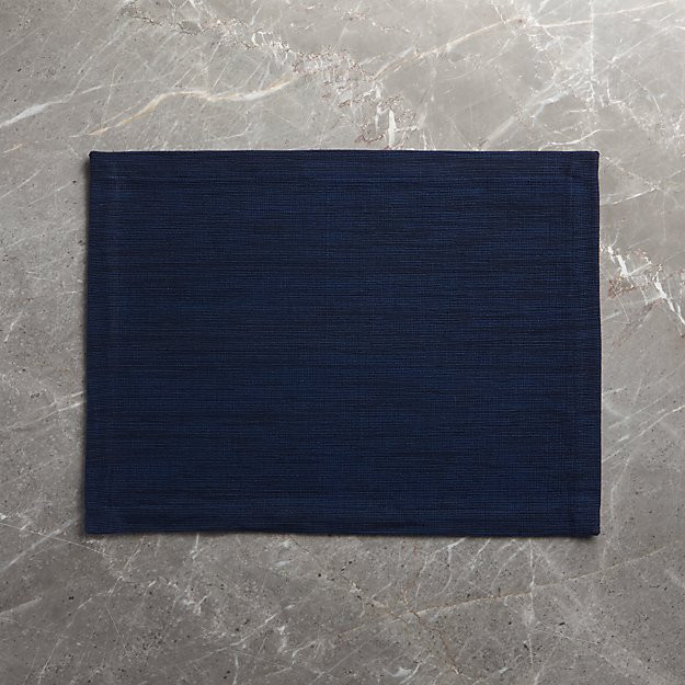 Grasscloth Navy Blue Cotton Placemat - Image 1 of 4