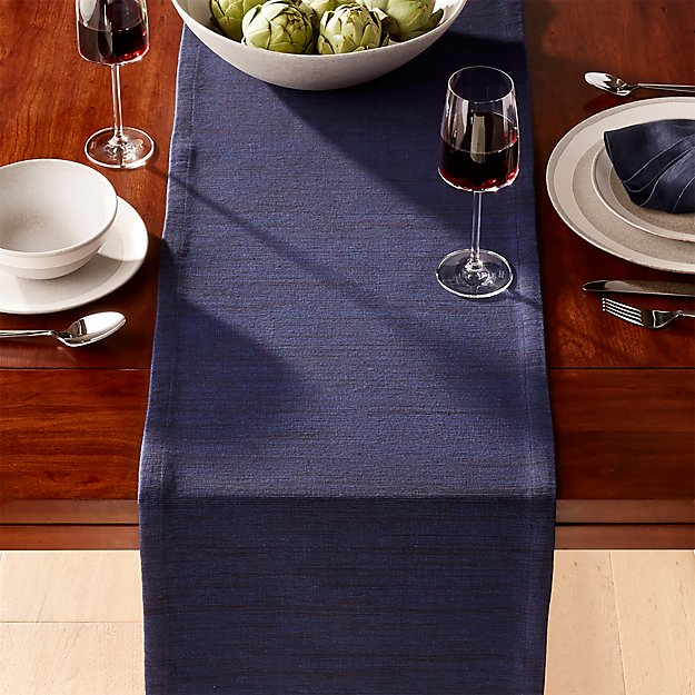 Grasscloth Navy Table Runner Reviews Crate And Barrel