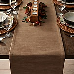 Grasscloth 90  Brindle Brown Table Runner