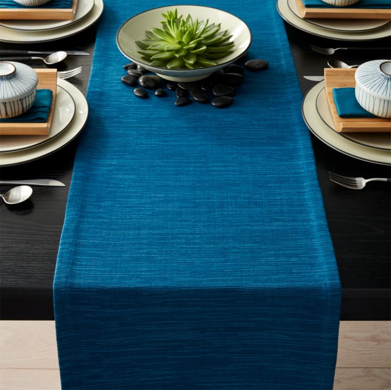 Grasscloth Corsair Blue Table Runner Crate And Barrel