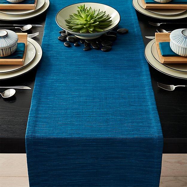 "Grasscloth 90"" Corsair Blue Table Runner"