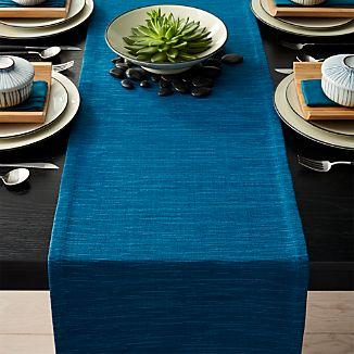 "Grasscloth 120"" Corsair Blue Table Runner."