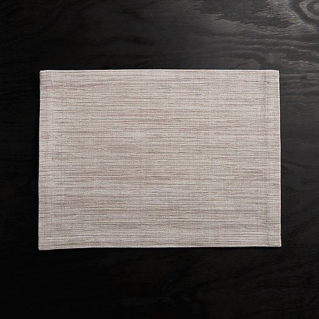 Grasscloth Dove Grey Cotton Placemat - Image 1 of 3