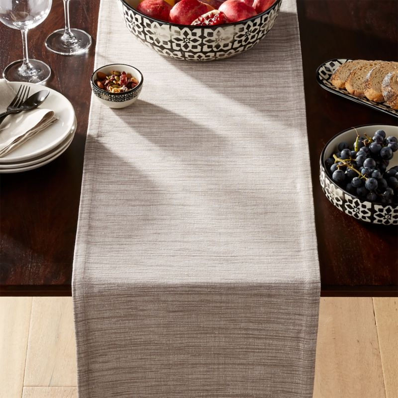 Grasscloth Dove Grey Table Runner Reviews Crate And Barrel