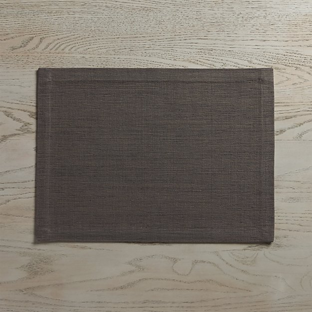 Grasscloth Graphite Cotton Placemat - Image 1 of 8