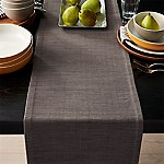 Grasscloth 90  Graphite Grey Table Runner