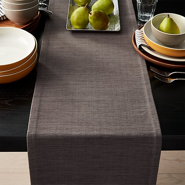 "Grasscloth 90"" Graphite Grey Table Runner"