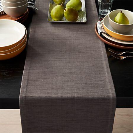 Grasscloth Graphite Grey Table Runner