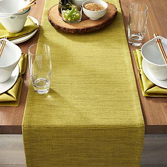 "Grasscloth 90"" Green Table Runner"