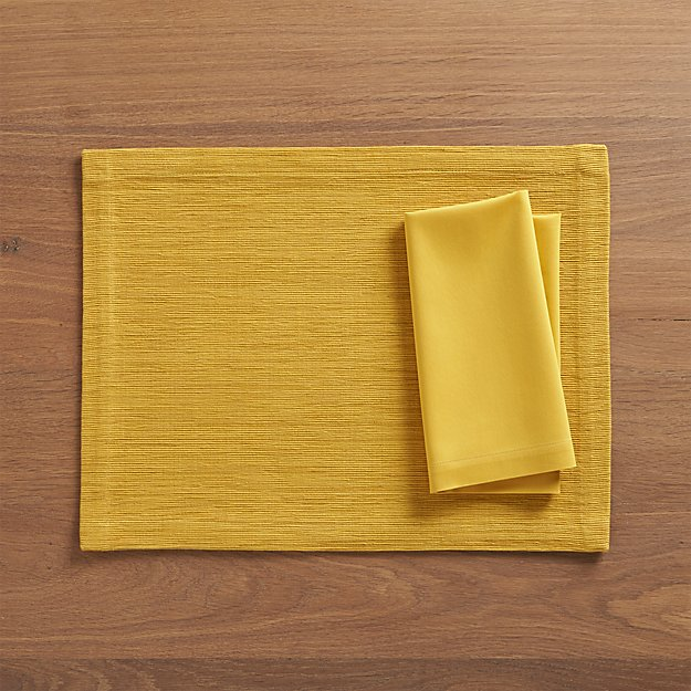 Grasscloth Mustard Placemat and Fete Mustard Cloth Napkin