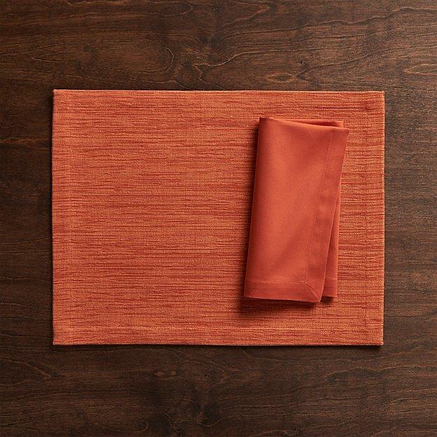 Grasscloth Orange Cloth Placemat and Fete Orange Cloth Dinner Napkin