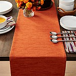 Grasscloth 90  Orange Table Runner