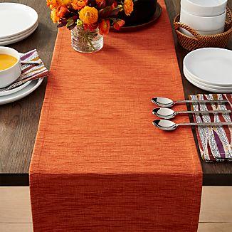 """Grasscloth 90"""" Orange Table Runner"""