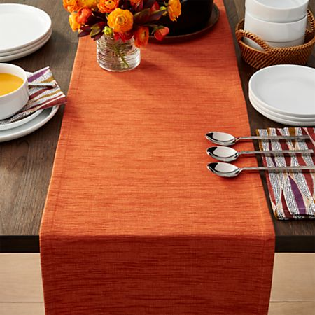 Grasscloth 90 Orange Table Runner Reviews Crate And Barrel
