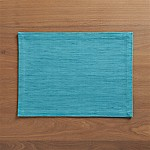 Grasscloth Aqua Cotton Placemat