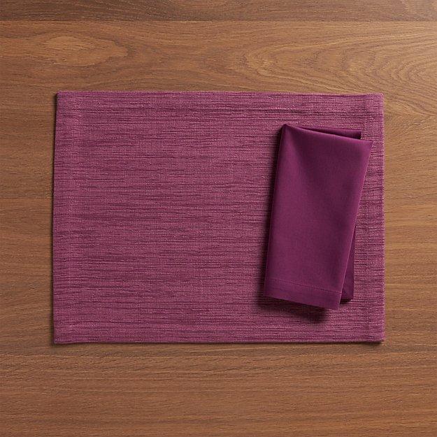 Grasscloth Violet Placemat and Fete Violet Cloth Napkin