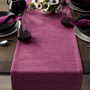 "Grasscloth 90"" Violet Purple Table Runner"