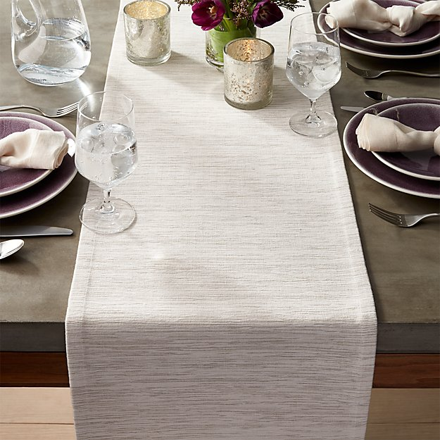 "Grasscloth 120"" White Table Runner"