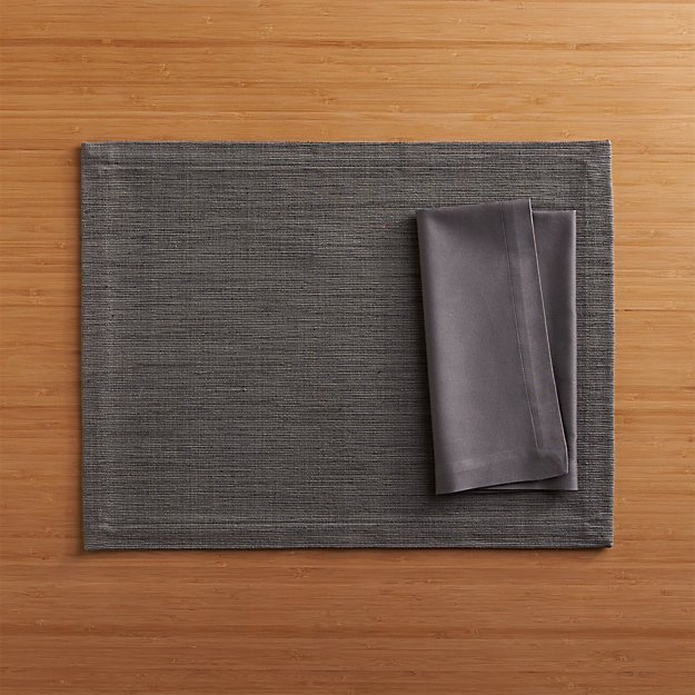 Grasscloth Graphite Placemat and Fete Pewter Cloth Napkin