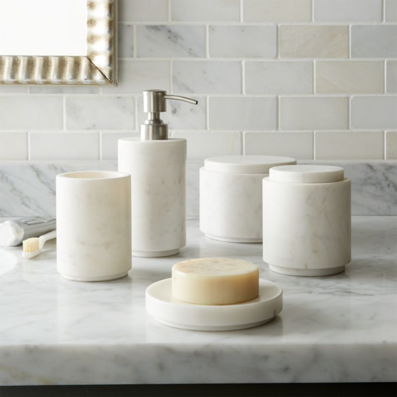 Graydon marble bath accessories crate and barrel for Looking for bathroom accessories