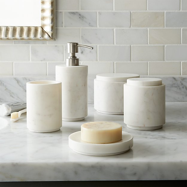 Bath Marble graydon marble bath accessories | crate and barrel