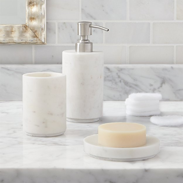 Set of 3 graydon accessories reviews crate and barrel for Marble toilet accessories