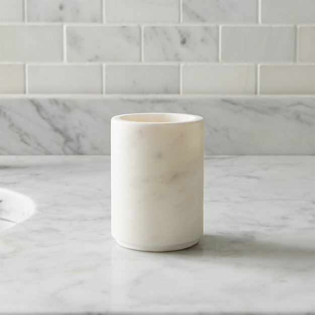 Graydon marble bathroom tumbler crate and barrel for White bathroom tumbler