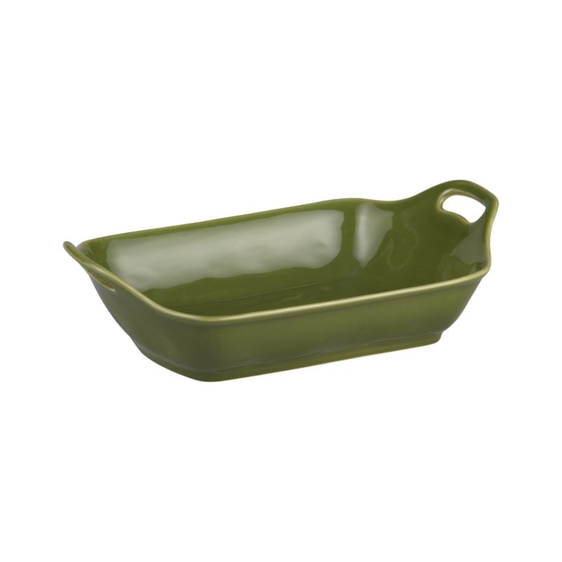 Charming oven-to-table baker shapes up in a flared, rounded rectangle with raised cutout handles and a versatile rich green glaze.<br /><br /><NEWTAG/><ul><li>Stoneware</li><li>Dishwasher-, microwave and oven-safe to 480 degrees</li></ul>