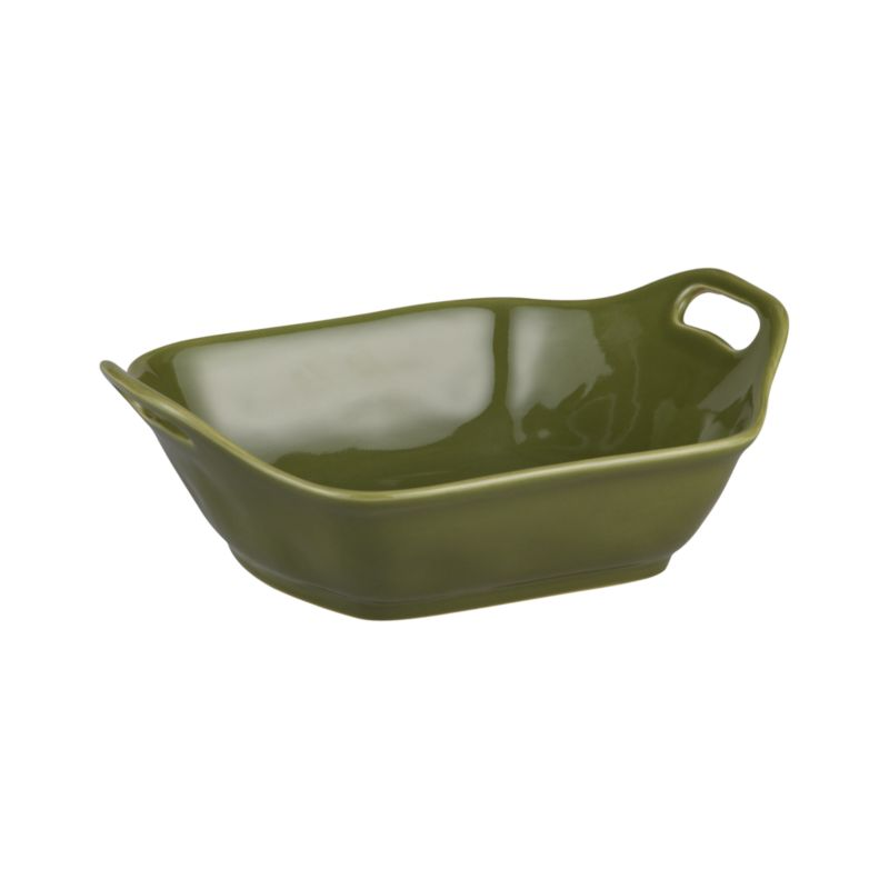 Charming oven-to-table baker shapes up in a flared, rounded square with raised cutout handles and a versatile rich green glaze.<br /><br /><NEWTAG/><ul><li>Stoneware</li><li>Dishwasher-, microwave and oven-safe to 480 degrees</li></ul>